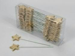 Sterne 5cm Glitter am Stab, gold
