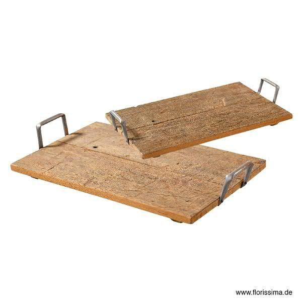 Tablett Holz S/2 SP 53x34x11cm 43x30x10cm, natur