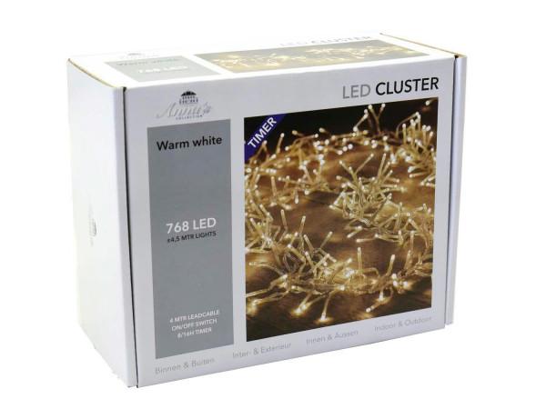 Clusterlights 768LED 4,5m transparent mit Timer Kabel schwarz Timer+Dimmer, outdoor ww