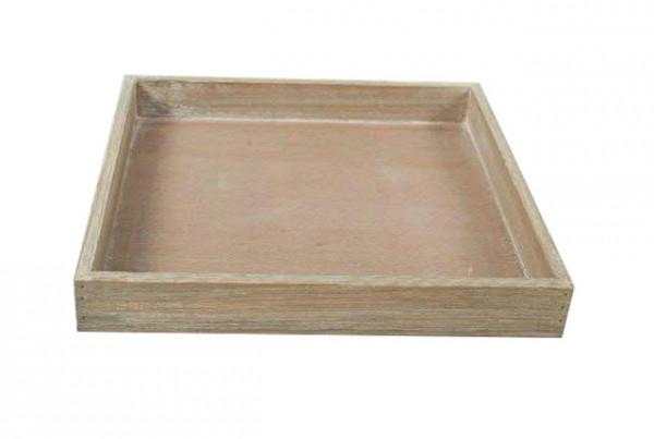 Tablett Holz 30x30x4cm Eckig Natur Wash Holztabletts Tabletts