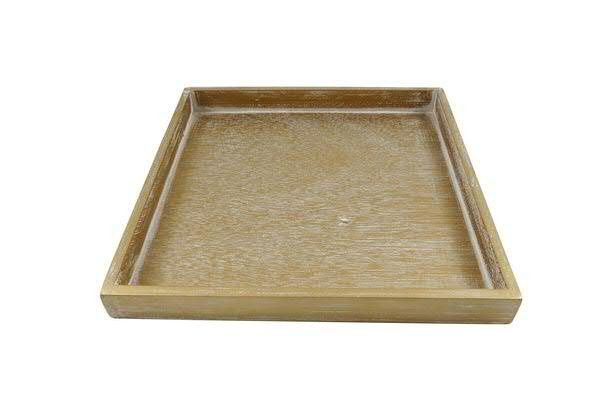 Tablett Holz 30x30x3cm, gold