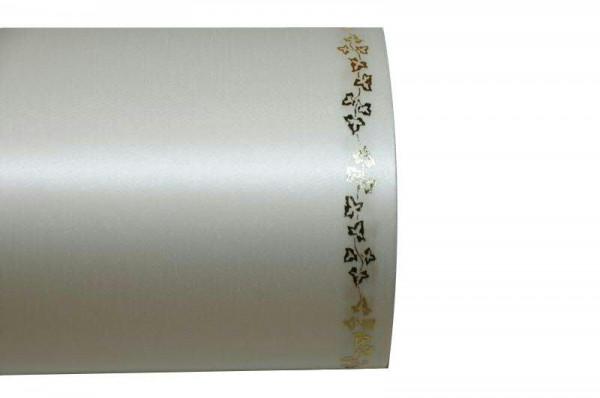 Kranzband 06738/100mm 25m Satin Efeurand gold, 003 cre go