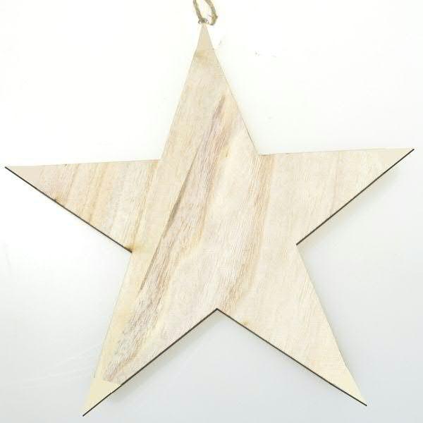 Stern Holz 25cm zum Hängen, natur