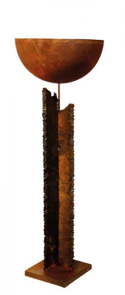 Rost Säule 10xH100cm a.Podest m.Schale D40cm