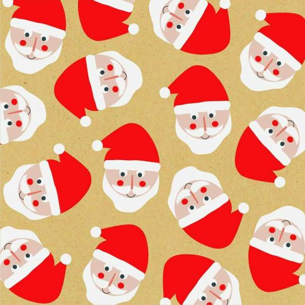 Servietten Gesichter Weihnachtsmann 20 Stück, braun