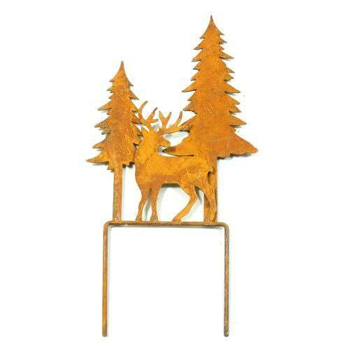 Stecker Metall 12x25,5cm Hirsch/Tanne, rost