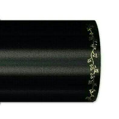 Kranzband 2505/150mm 25m Satin Efeurand gold, 100 schwar