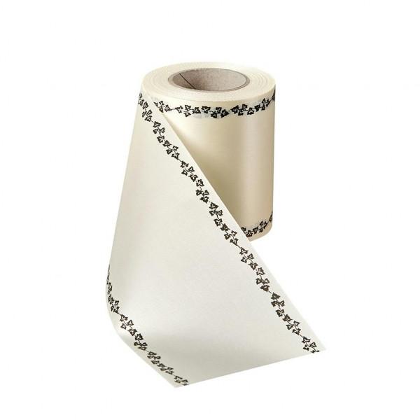Kranzband 06739/200mm 25m Satin Efeurand schwarz, 003 natur