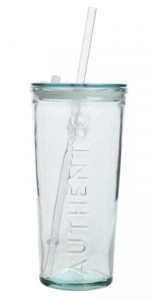 Glas 8,5x17cm mit Deckel+Strohhalm Recycling Glas, klar