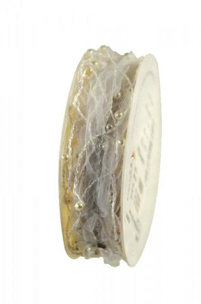Litze 6320/20mm 10m Perlen, 11 weiß