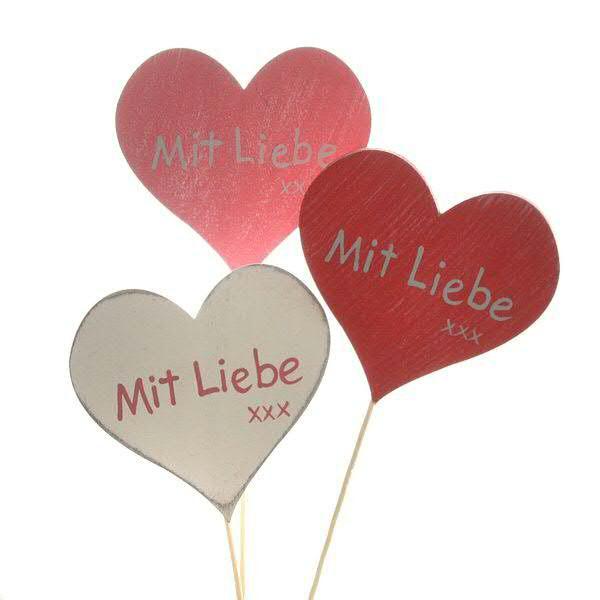 """Herz Holz 12St.10x9,5/29cm """"Mit Liebe"""", w/pink/rot"""