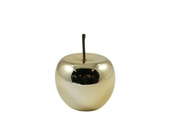 Apfel Keramik 10x8,5cm, gold glasi