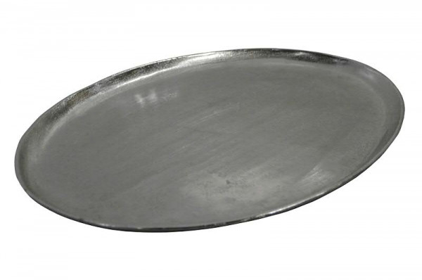 Tablett Alu antik D49cm oval, silber