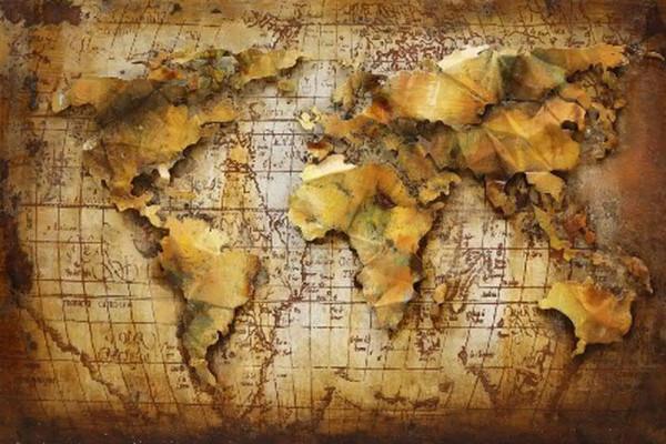 Bild Metall 80x120x3cm, Weltkarte