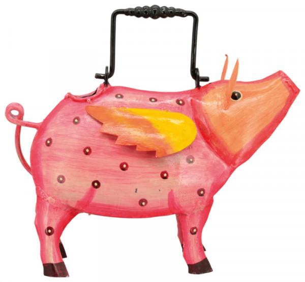 Gießkanne Metall 14x34x24cm Schwein, rosa
