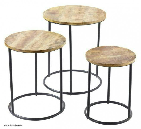 Hocker Holz/Metall S/3 51x63cm 45x56/38x48cm, schw/natur