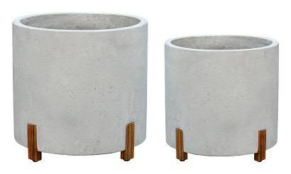 Kübel BT439 D45/38cm 2er Satz m.Holz, cement