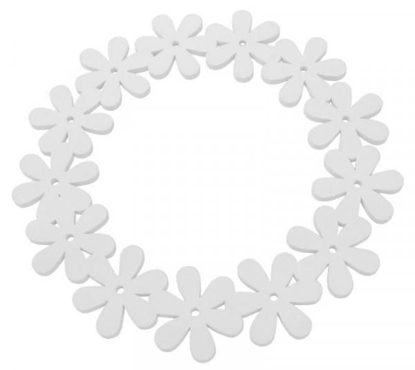 Kranz Holz Blumen 35cm, weiß