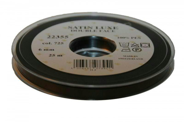 Band Satin 22355/06mm 25m, 725 schwar