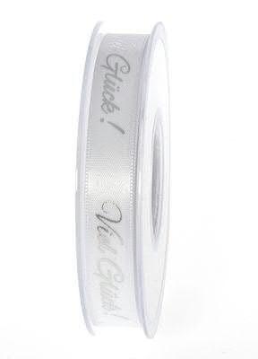 Band 1105/15mm 20m Viel Glück, weiß/silbe