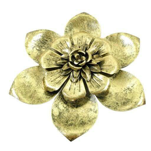Blüte Metall D35cm für Wand, gold