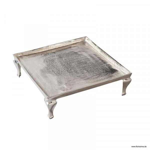 Tablett Alu antik 40x40x12cm m.Füssen