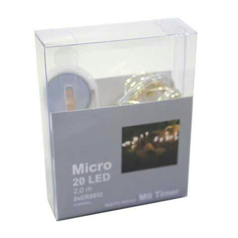 Microlichterkette 20LED 2m Knopfzelle mit Timer, warm weiß
