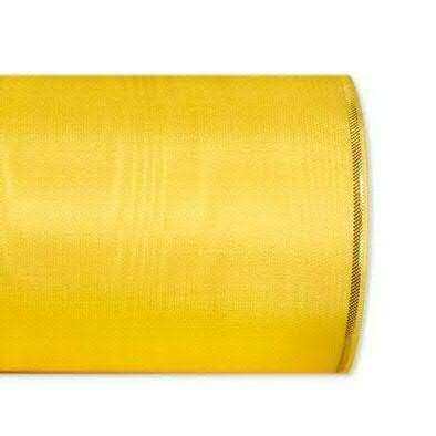 Kranzband 4422/125mm 25m Moire Goldrand, 212 gelb