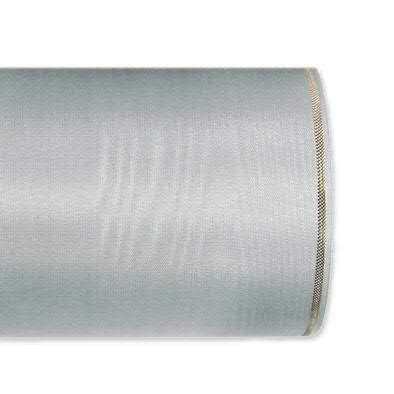 Kranzband 4422/125mm 25m Moire Goldrand, 221 grau