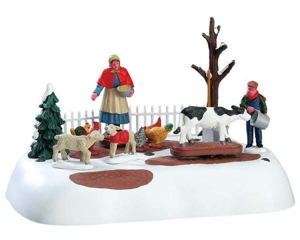 Winter farm choers 20,5x12,5cm animiert, Batteriebetrieben