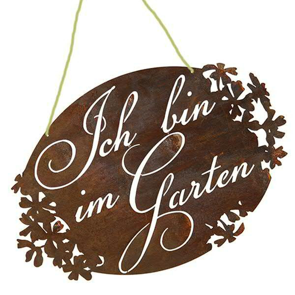 Rost Gartenschild 45x30cm Ich bin im Garten