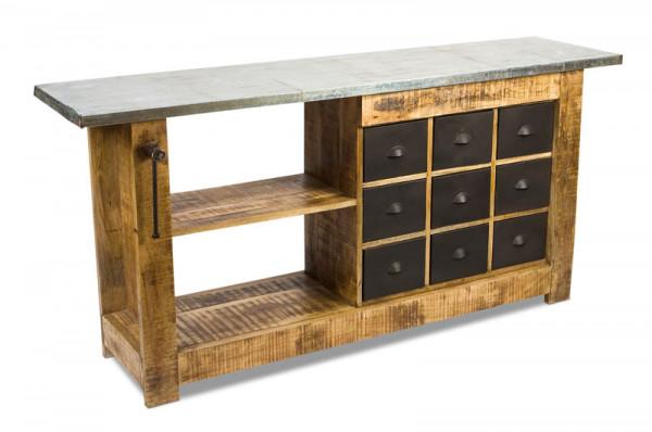 Tisch Holz/Metall 191x46x87cm, natur