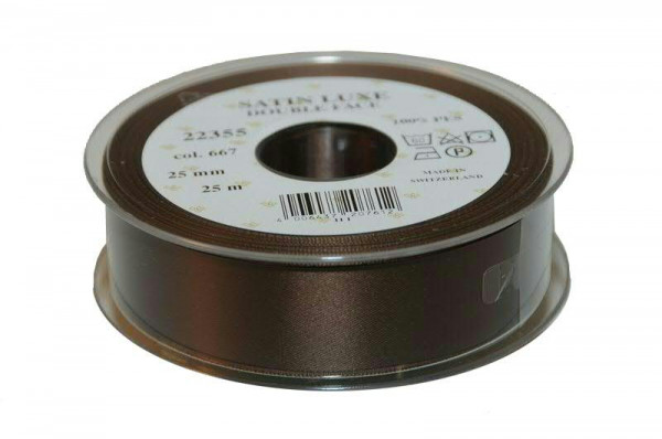 Band Satin 22355/25mm 25m, 667 d.brau
