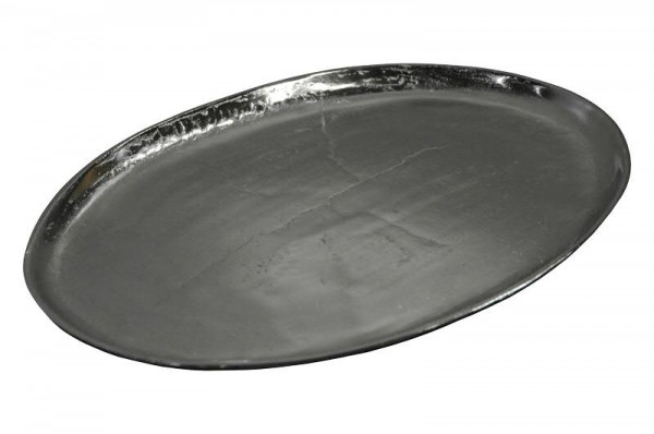 Tablett Alu antik D43cm oval, silber