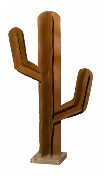 Kaktus Metall SP 95x51cm auf Holz Fuß, rost