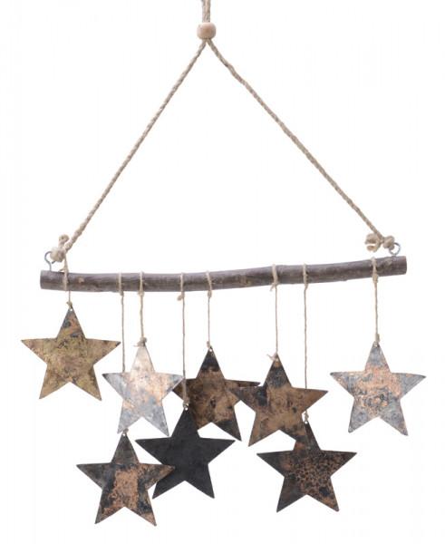 Triangel mit 9 Sternen Metall 35x25cm, schwarz