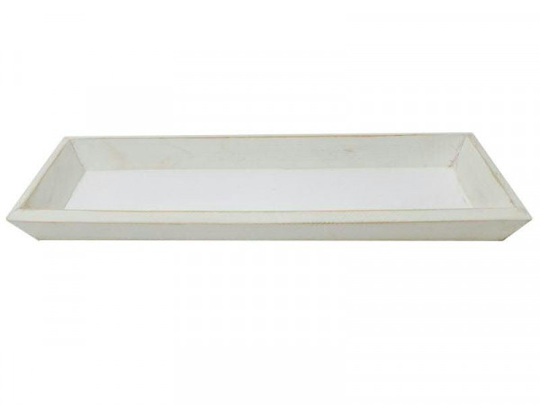 Tablett Holz 35x11,5x2,5cm, weiß