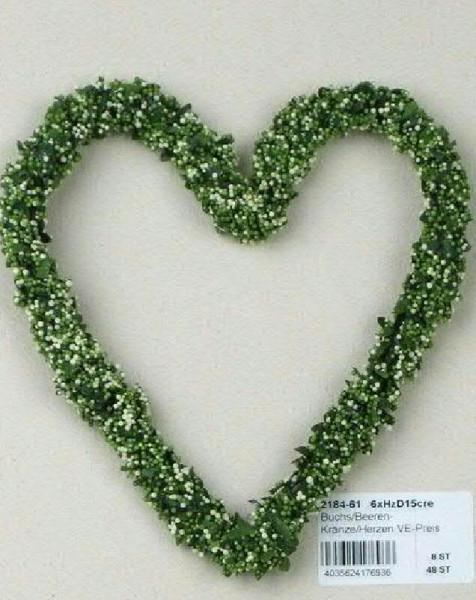Buchs Beeren Herz 10cm 10Stck., grün/creme