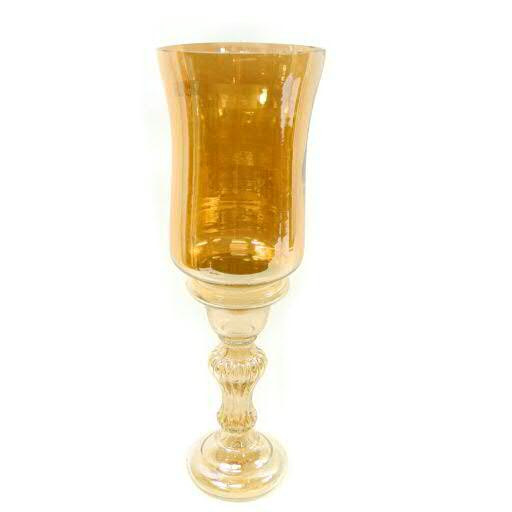 Glas Pokal D15H47cm, braun