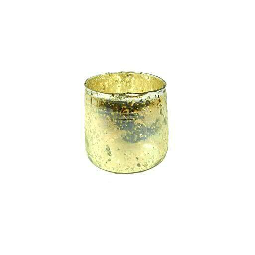 Glas Teelicht D15H15cm, gold