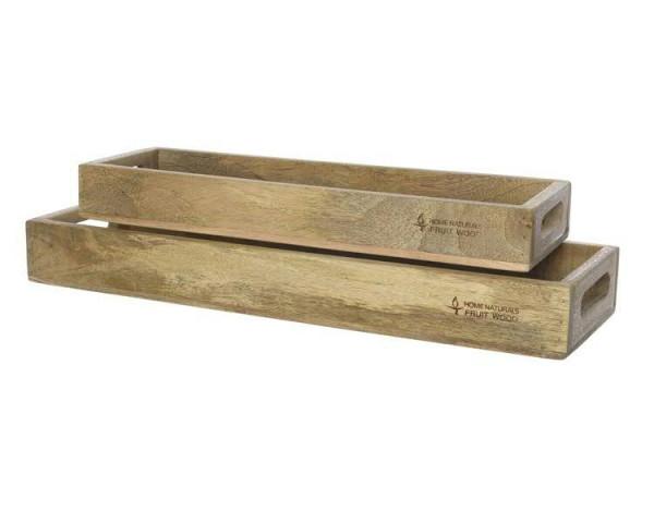 Tablett Holz S 2 58x19x7cm 48x15x6cm Mangoholz Natur Holztabletts