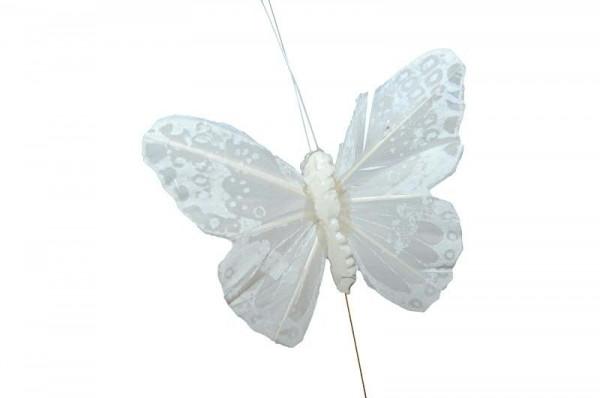 Schmetterling 12St.8/20cm am Draht Stecker, weiß