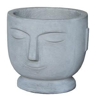 Kübel BT260 D39x37cm H34cm Gesicht, cement