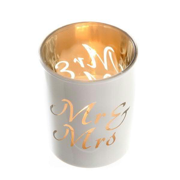 Glas Windlicht 12St.D5,5H6,5cm, weiß/gold