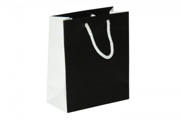 Papiertüte 16x8x19cm Black&White, schwarz/we