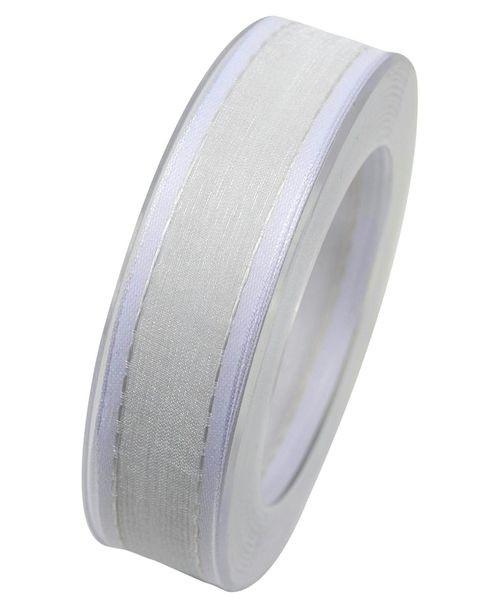 Band Organza X347/25mm 20m, 01 weiß