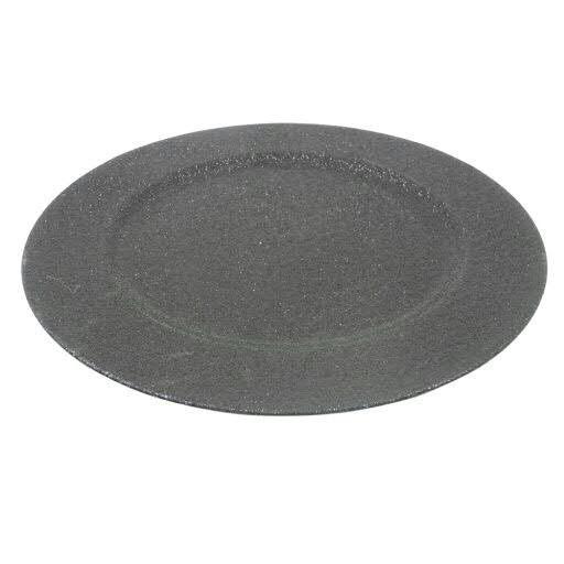 Teller Kunststoff D33cm mit Glitter, schwarz