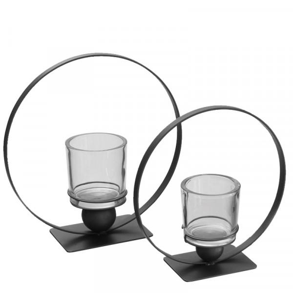 Windlicht Glas/Metall 34x13x35cm Glas D12H12cm,pulverbeschichtet, anthrazit