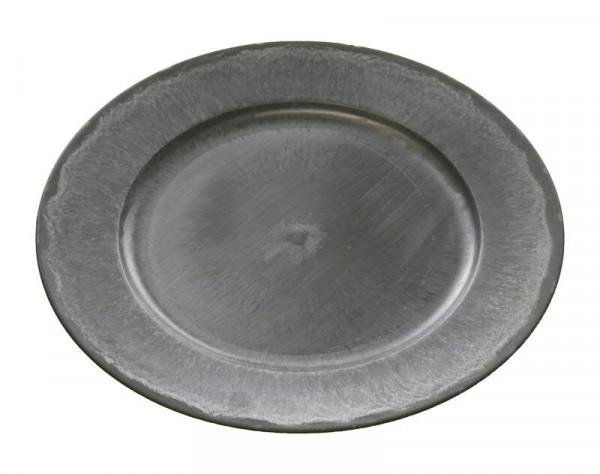 Teller Kunststoff D33cm, grau/natur