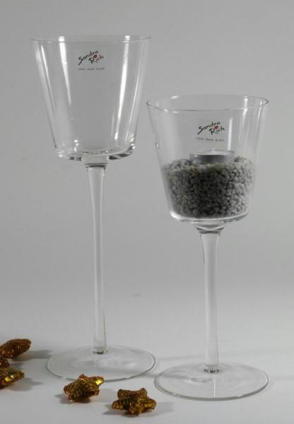 Glas Schale a.Fuß H25cm konisch, klar